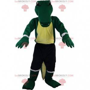 Mascote crocodilo verde em roupas esportivas, fantasia de