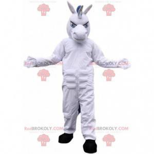 Mascote unicórnio branco, fantasia de cavalo gigante -