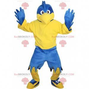 Niebieski i żółty orzeł maskotka, gigantyczny niebieski kostium