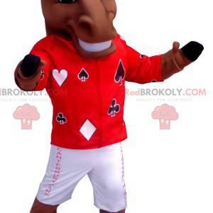 Brown horse mascot in jockey outfit - Redbrokoly.com