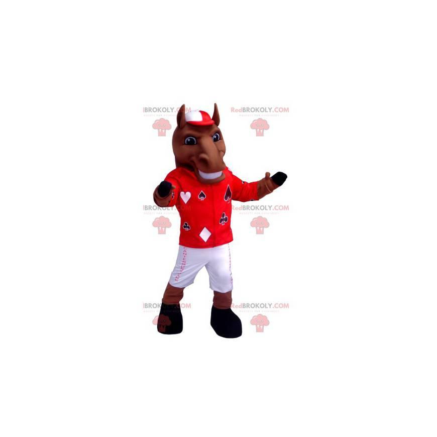 Hnědý kůň maskot v žokejové oblečení - Redbrokoly.com