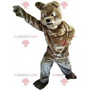 Brown Bulldog Maskottchen suchen heftig, Hundekostüm -