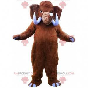 Braunes Mammutmaskottchen mit großen Stoßzähnen - Redbrokoly.com