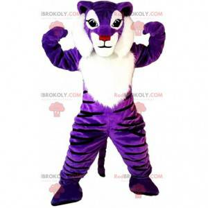 Lila und weißer Tiger Maskottchen, buntes Rehkostüm -