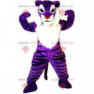 Mascote tigre roxo e branco, fantasia colorida de fulvo -