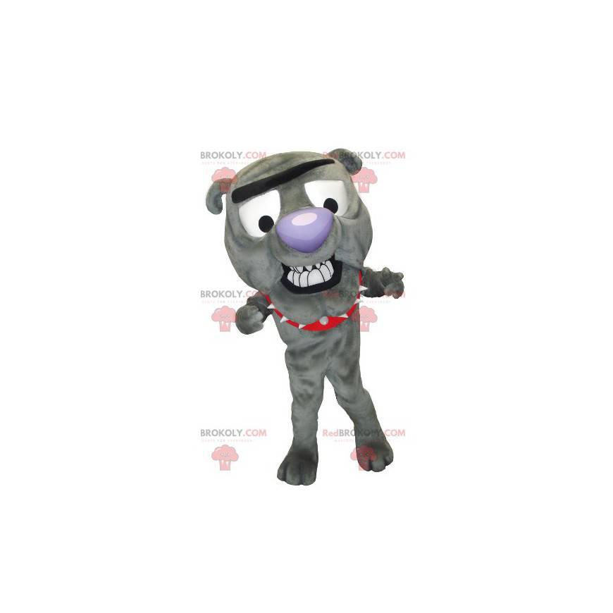 Buldok šedý pes maskot - Redbrokoly.com