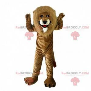 Mascote leão marrom com juba grande e fantasia de felino -
