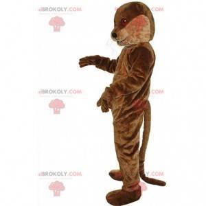 Mascote de lontra marrom com olhos vermelhos, fantasia de rio -