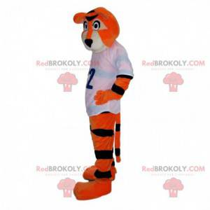 Mascotte tigre arancione e nera con una maglia sportiva -