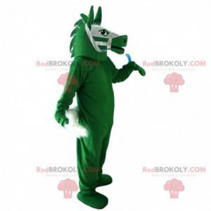 Mascote cavalo verde, traje de equitação, centro equestre -