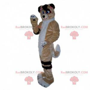 Maskot tříbarevný pes, měkký a chlupatý psí kostým -