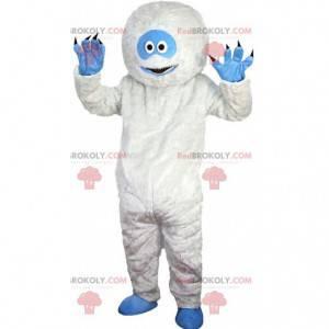 Maskot bílý a modrý yeti, velmi zábavný a originální -