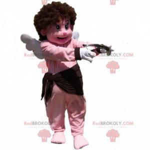 Mascote Cupido com um ars, asas e um grande sorriso -