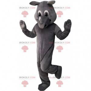 Mascote de rinoceronte cinza totalmente personalizável -