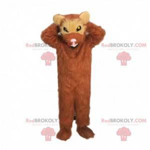 Žravý maskot, chlupatý hnědý medvěd divoce vypadající -