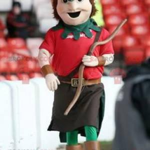 Robin Hood Maskottchen im roten und grünen Outfit -