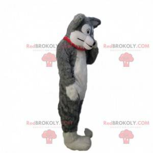 Weiches und haariges graues und weißes Hundemaskottchen