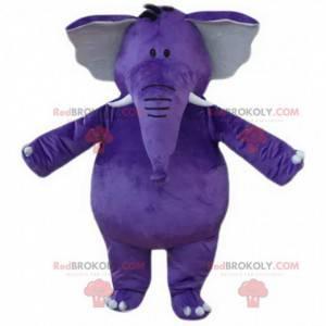 Mascote elefante roxo, gigante, gordo e divertido -