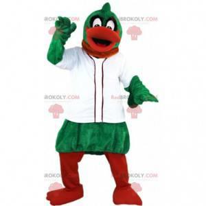 Grøn og orange andemaskot med en hvid jakke - Redbrokoly.com