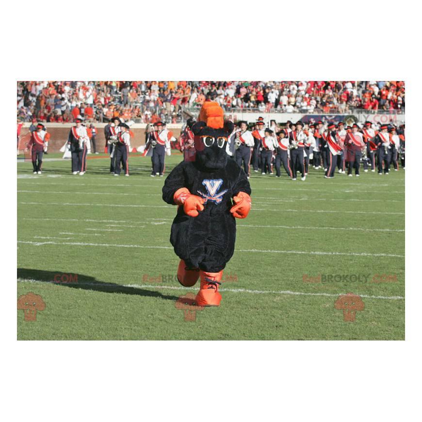Maskot černé a oranžové koně - Redbrokoly.com