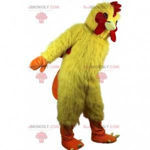 Mascote de frango, galo amarelo e vermelho, fantasia de galinha