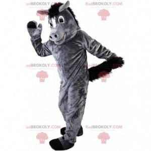 Mascota de caballo gris y negro, disfraz de burro, burro -