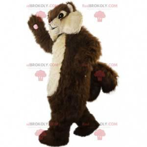 Mascote esquilo marrom e bege, todo peludo e gordinho -