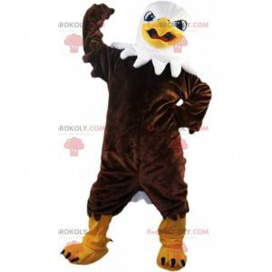 Proud and majestic brown eagle mascot, vulture costume -