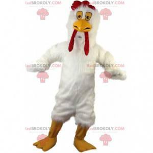 Mascot gigantische witte kip, braadpan kostuum, kip -