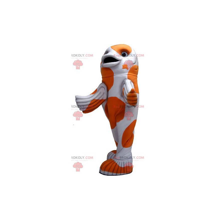 Maskot bílé a oranžové ryby - Redbrokoly.com