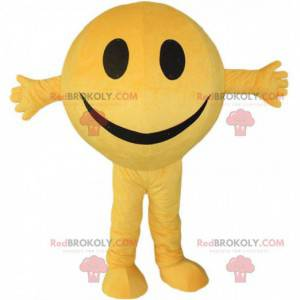 Mascotte gele smiley, rond en glimlachend sneeuwpopkostuum -