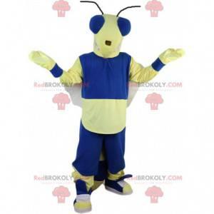 Vliegenmascotte, gele en blauwe bij, insectenkostuum -