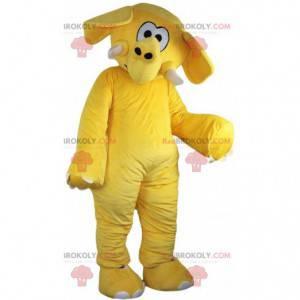 Mascote elefante amarelo, fantasia de elefante amarelo -