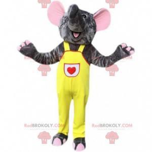Grå elefant maskot overall, pachyderm kostume - Redbrokoly.com