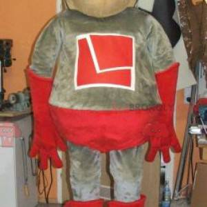 Šedý a červený superhrdina maskot - Redbrokoly.com