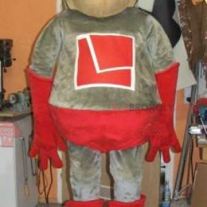 Grijze en rode superheld mascotte - Redbrokoly.com