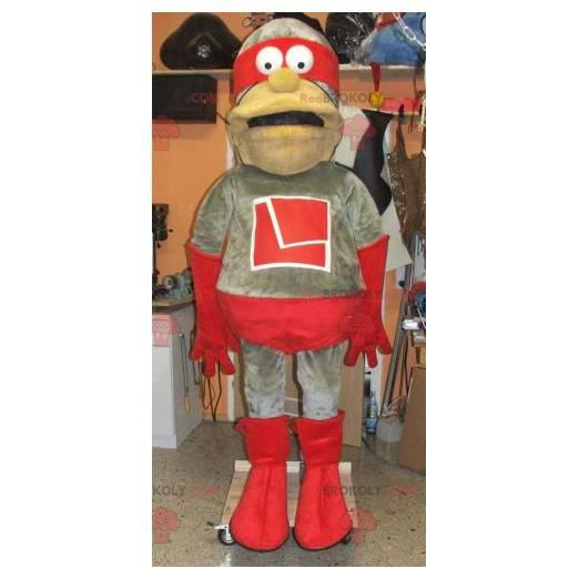 Graues und rotes Superheldenmaskottchen - Redbrokoly.com