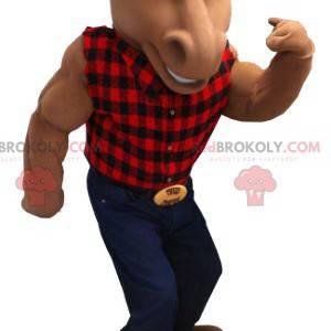 Bruin paard mascotte met een geruite overhemd en spijkerbroek -