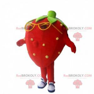 Mascote morango vermelho, fantasia de morango com óculos -