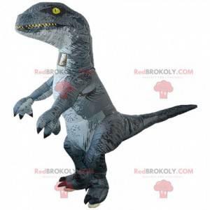 Velociraptor maskot, kæmpe dinosaur, oppustelig kostume -