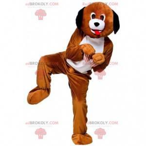 Brown and white dog mascot, two-tone doggie costume -