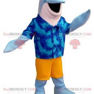 Blaues und weißes Delphinmaskottchen mit einem Hawaiihemd -