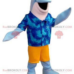 Blauw-witte dolfijnmascotte met een Hawaiiaans overhemd -