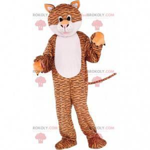 Braunes und weißes Tigermaskottchen mit schwarzen Linien -