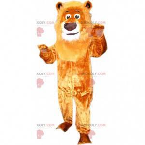 Mascotte bruine leeuw met grote manen, katachtig kostuum -