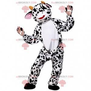 Reusachtige witte koe mascotte met bruine vlekken -