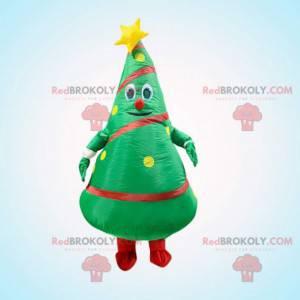 Mascota inflable del árbol de Navidad verde, traje del árbol de