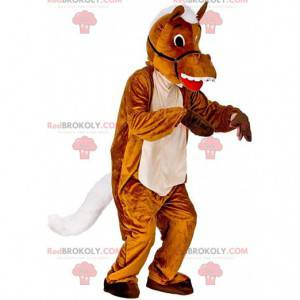 Mascote cavalo marrom e branco, fantasia de cavalo -