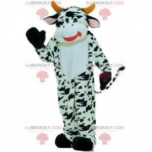 Mascote de vaca branca e preta, fantasia de vaca -