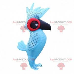Mascota loro inflable y gigante, disfraz de pájaro -